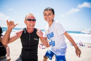 Mentor and Mentee Friendship Frank and Aiden at Walk With Sally's Surf Day Friendship Activity in Manhattan Beach near Los Angeles