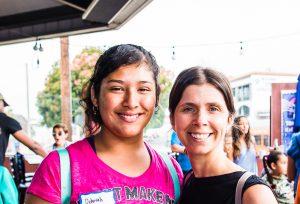 Mentor Nicole and Mentee Deborah at Walk With Sally's tie dye Friendship Activity in El Segundo
